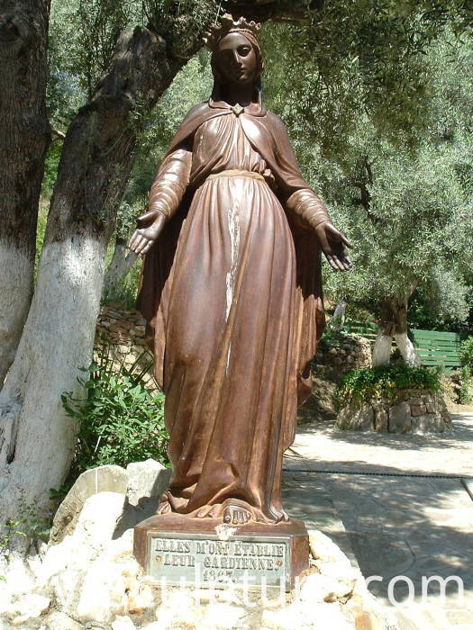 bronze virgin Mary statue